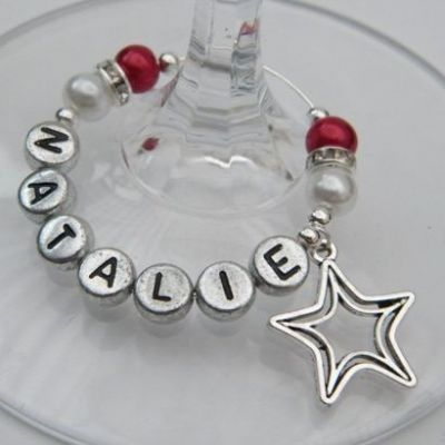 Double Star Outline Personalised Wine Glass Charm - Elegance Style